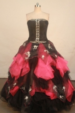 Wonderful Ball Gown Strapless Floor-length Black Organza Quinceanera dress Style FA-L-241