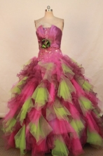 Wonderful Ball Gown Strapless Floor-length Organza Beading Quinceanera dress Style FA-L-288