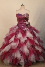 Wonderful Ball Gown Strapless Floor-length Organza Beading Quinceanera dress Style FA-L-312