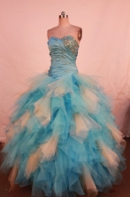 Wonderful Ball Gown Strapless Floor-length Organza Beading Quinceanera dress Style FA-L-327