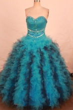 Wonderful Ball Gown Sweetheart Floor-length Teal Organza Beading Quinceanera dress Style FA-L-267