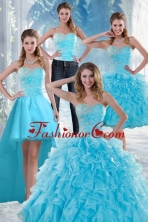 2015 Detachable Beautiful Appliques Quince Dresses with Beading and Ruffles XFNAO011TZA2FOR