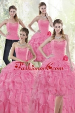 2015 Detachable Pretty Baby Pink Quince Dresses with Beading and Ruffles XFNAO142TZA2FOR
