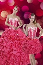 2015 Detachable Pretty Hot Pink Sweet 15 Dresses with Pick Ups and Appliques XFNAOA58TZFOR