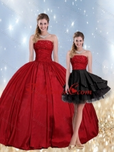 2015 Detachable Strapless Beaded Quinceanera Dress in Red and Black QDZY597TZFOR