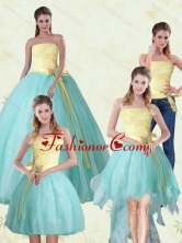 2015 Detachable Strapless Floor Length Multi Color Quinceanera Gown with Bowknot MLXNHY05TZA2FOR