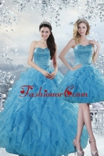 2015 Fashionable Detachable Baby Blue Dresses for Quince with Beading and Ruffles XFNAOA19TZFOR