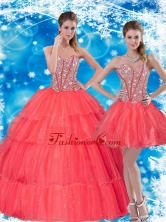 2015 Gorgeous Beading and Ruffled Layers Sweetheart Quinceanera Dresses in Coral Red QDDTA39001FOR