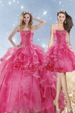 2015 Hot Detachable Selling Pink Dresses for Quinceanera with Beading and Ruffles XFNAOA31TZFOR