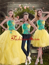 2015 New Style Detachable Yellow and Green Quince Dresses with Ruching XFNAO756TZA1FOR
