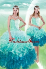 2015 Pretty Detachable Sweetheart Multi Color Quince Dresses with Beading and Ruffles XFNAO5640TZFOR