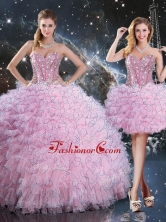 2016 Pretty Detachable Quinceanera Dresses with Beading and Ruffles QDDTA113001FOR