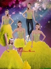 2016 Spring Detachable Sweetheart Yellow Modest Quinceanera Dresses with Beading and Ruffles QDDTA5002ZHTZ001-1FOR