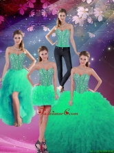 2016 Spring Pretty Sweetheart Beaded and Ruffles Detachable Quinceanera Dresses in Turquoise QDDTA5008-5FOR