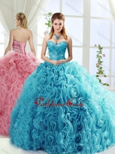 Artistic Rolling Flowers Brush Train Detachable Quinceanera Gowns with BeadingSJQDDT556002FOR
