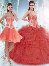 Beautifu Coral Red Detachable Sweet 16 Dresses with Beading and Ruffles SJQDDT533002AFOR