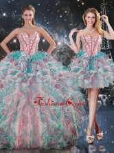 Best Ball Gown Sweetheart Detachable Quinceanera Dresses with Ruffles QDDTA91001FOR