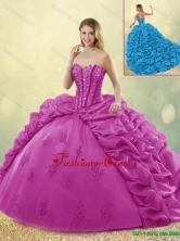 Best Selling Brush Train Detachable Beading Quinceanera Dresses in Fuchsia SJQDDT191002-7FOR