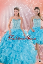 Brand New Detachable Baby Blue Quince Dresses with Beading and Ruffles XFNAO5844TZFOR