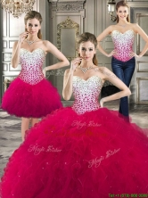 Cheap Beaded Bodice and Ruffled Detachable Quinceanera Dresses in Hot Pink YYPJ020CX003FOR