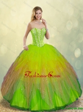 Cheap Multi Color Detachable  Lace Up Sweet 16 Dresses with Beading SJQDDT187002-1FOR