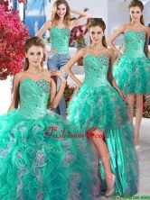 Cheap Turquoise and White Detachable Quinceanera Dresses with Beading and Ruffles YYPJ010CX004FOR
