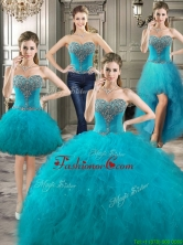 Classical Big Puffy Teal Detachable Quinceanera Dresses with Beading and Ruffles YYPJ021CX004FOR