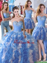 Comfortable Applique and Ruffled Detachable Quinceanera Dresses in Blue and White YYPJ006CX004FOR