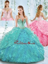 Deep V Neckline Detachable Quinceanera Dress with Beading and Ruffles SJQDDT545002FOR