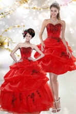 Detachable Beautiful Strapless Red Quinceanera Dresses with Appliques and Pick Ups for 2015 XFNAO508TZFOR