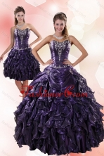 Detachable Classic Sweetheart Ruffled 2015 Quinceanera Dresses with Embroidery XFNAO020TZFOR