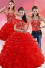 Detachable Exquisite Red Quince Dresses With Beading and Ruffles for 2015 XFNAO092TZA1FOR