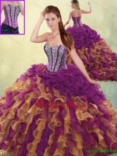 Detachable Fashionable Brush Train Beading Sweet 16 Dresses in Multi Color SJQDDT193002FOR