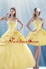 Detachable Fashionable Strapless 2015 Beading Quince Dresses with Beadings and Pick Ups XFNAO214TZFOR