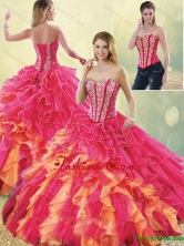 Detachable Gorgeous Multi Color Quinceanera Dresses with Beading and Ruffles SJQDDT195002FOR