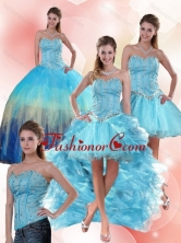 Detachable Multi Color Sweetheart Quinceanera Dress with Ruffles and Beading QDZY109TZA2FOR