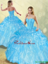 Detachable Perfect Ball Gown Sweet 16 Dresses with Beading and Ruffles SJQDDT199002FOR