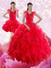 Detachable Sophisticated Red Sweetheart Dresses for Quince with Ruffles and Beading XFNAO293TZFOR