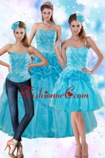 Detachable Sophisticated Teal Quince Dresses with Embroidery and Pick Ups XFNAOA37TZA1FOR