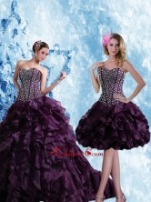 Detachable Sweetheart Burgundy Quinceanera Dress with Ruffles and Beading UNION19T06TZFOR