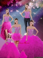 Detachable and Luxurious 2016 Fall Sweetheart Fuchsia Beautiful Quinceanera Dresses with Beading and Ruffles QDDTA5002ZHTZ001-2FOR
