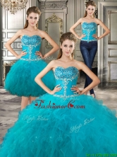 Discount Big Puffy Teal Detachable Quinceanera Dresses with Beading and Ruffles YYPJ028CX003FOR