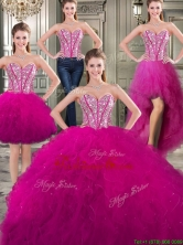 Discount Tulle Fuchsia Detachable Sweet 16 Dresses with Beading and Ruffles YYPJ026CX004FOR