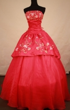 Fashionable Ball Gown Strapless Floor-length Red Satin Embroidery Quinceanera dress Style FA-L-275