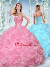 Fashionable Beaded and Bubble Organza Detachable Quinceanera Dress in Rose Pink SJQDDT535002FOR