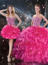 Fashionable Sweetheart Hot Pink Detachable Quinceanera Dresses with Beading QDDTA100001FOR