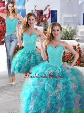 Gorgeous Beaded and Ruffled Detachable Quinceanera Dresses in Blue and White YYPJ005CX003FOR
