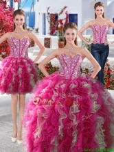 Gorgeous Hot Pink and White Detachable Quinceanera Dresses with Beading and Ruffles YYPJ008CX003FOR