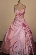 Informal Ball Gown Hater Top Neck Floor-Lengtrh Lilac Beading and Appliques Quinceanera Dresses Styl