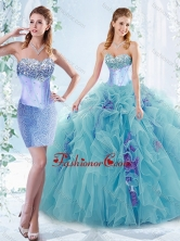Latest Aquamarine Detachable Quinceanera Gowns with Beaded Bust and Ruffles SJQDDT548002AFOR